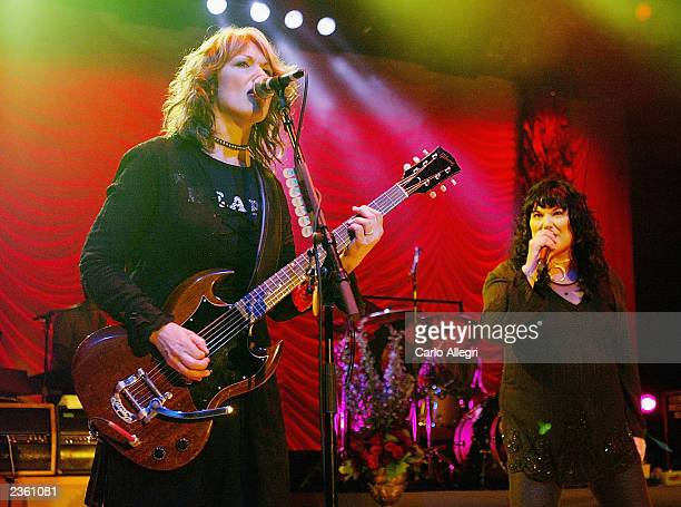 Ann Wilson and Nancy Wilson of the band Heart perform at the Greek Theatre August 03 2003 in Los Angeles Heart are in the middle of a world tour