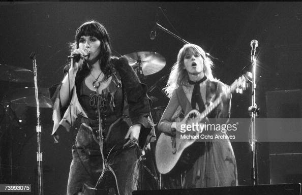 Ann Wilson and Nancy Wilson of the rock and roll band 'Heart' perform onstage in circa 1977