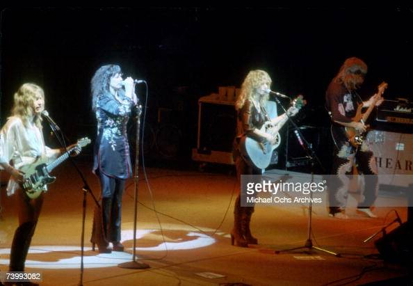 Ann Wilson and Nancy Wilson of the rock band 'Heart' perform onstage in circa 1977