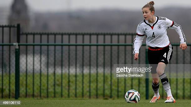 Anna Aehling of Germany controls the ball during the U15 girl's international friendly match between Belgium and Germany on November 28 2015 in...