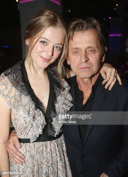 Anna Baryshnikov and father Mikhail Baryshnikov pose at te opening night after party for 'Time and The Conways' on Broadway at ESpace on October 10...