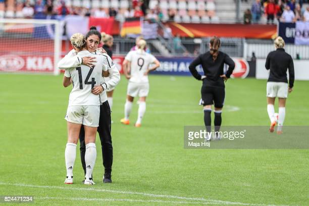 Anna Blaesse and Sara Doorsoun of Germany react after the UEFA Women's Euro 2017 Quarter Final match between Germany and Denmark at Sparta Stadion on...