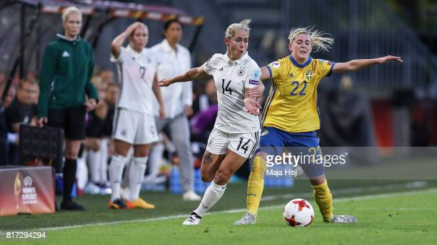 Anna Blaesse of Germany and Olivia Schough of Sweden battle for the ball during the Group B match between Germany and Sweden during the UEFA Women's...
