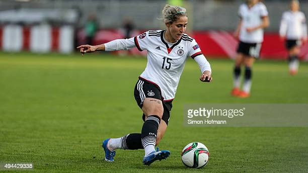 Anna Blaesse of Germany controls the ball during the UEFA Women's Euro 2017 Qualifier match between Germany and Turkey at Hardtwaldstadion on October...