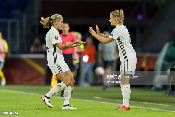 Anna Blaesse of Germany shakes hands with Leonie Maier of Germany during the Group B match between Germany and Sweden during the UEFA Women's Euro...