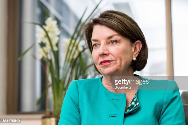 Anna Bligh chief executive officer of the Australian Bankers' Association listens during an interview in Sydney Australia on Monday Aug 14 2017...