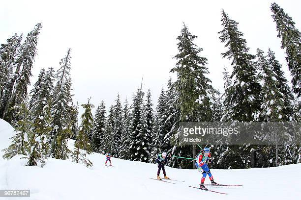 Anna Boulygina of Russia competes in the women's biathlon 10 km pursuit on day 5 of the 2010 Vancouver Winter Olympics at Whistler Olympic Park...