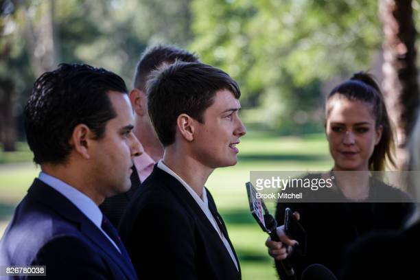 Anna Brown from the Human Rights Law Centre speaks during a media conference on August 6 2017 in Sydney Australia The federal government is under...