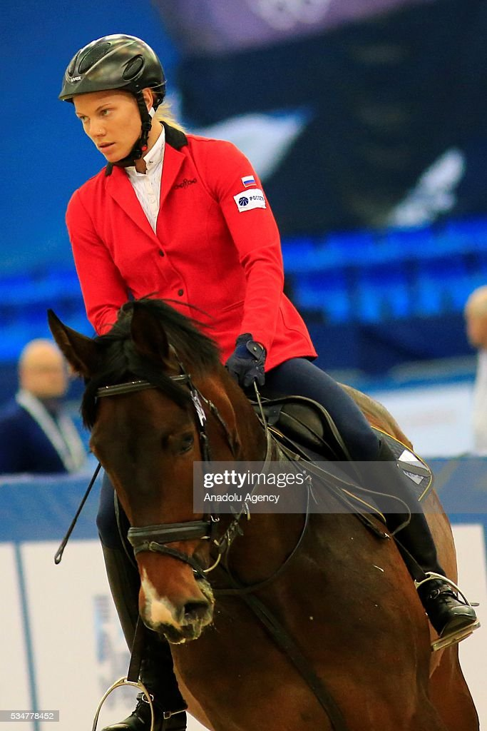 Anna Buriak of Russia competes during the riding discipline of the women's final at the modern pentathlon world championships in Moscow, Russia, on May 27, 2016.