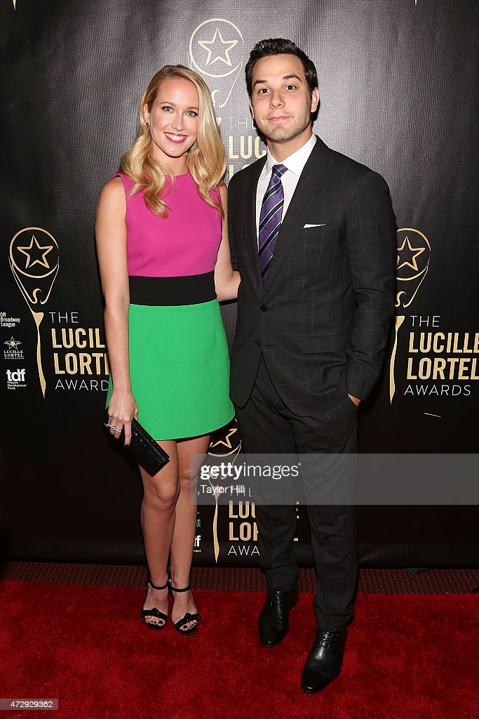 Anna Camp and Skylar Astin attend the 2015 Lucille Lortel Awards at NYU Skirball Center on May 10 2015 in New York City