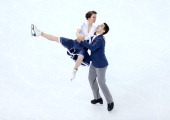 Anna Cappellini and Luca Lanotte of Italy compete in the Figure Skating Team Ice Dance Short Dance during day one of the Sochi 2014 Winter Olympics...
