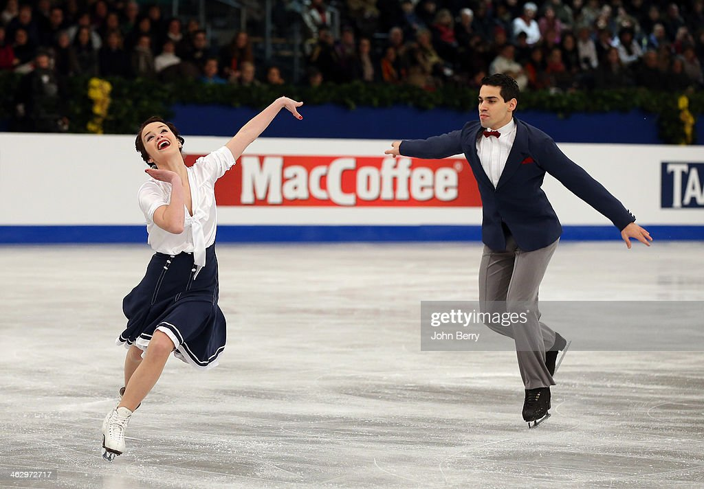 Anna Cappellini and Luca Lanotte of Italy compete in the Ice Dance Short Dance event of the ISU European Figure Skating Championships 2014 held at...