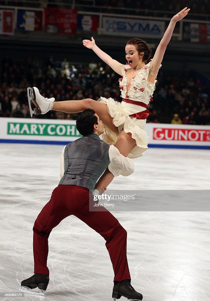 Anna Cappellini and Luca Lanotte of Italy compete in the Ice Dance Free Dance event of the ISU European Figure Skating Championships 2014 held at the...
