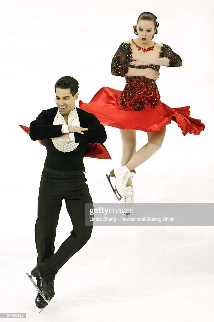 Anna Cappellini and Luca Lanotte of Italy compete in the Ice Dance Short Dance event on day one of the 2015 ISU World Figure Skating Championships at...