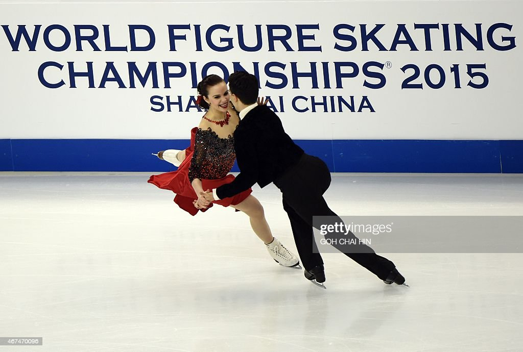 Anna Cappellini and Luca Lanotte of Italy compete in the ice dance short dance event in the 2015 ISU World Figure Skating Championships at the...