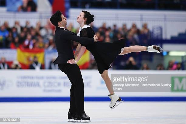 Anna Cappellini and Luca Lanotte of Italy compete in the Ice Dance Free Dance during day 4 of the European Figure Skating Championships at Ostravar...