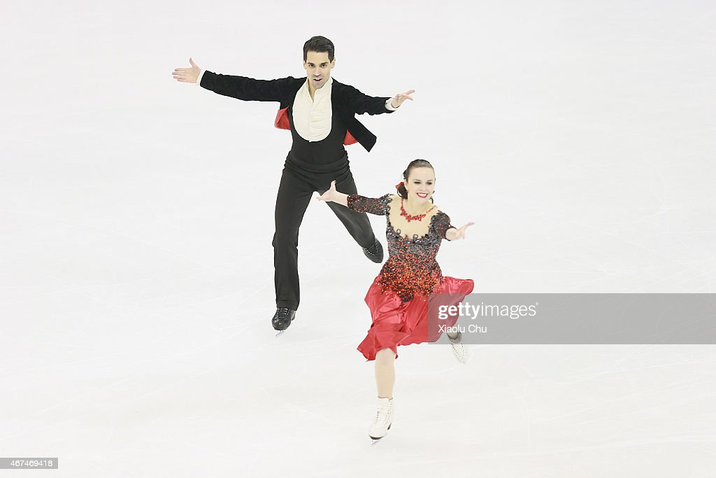Anna Cappellini and Luca Lanotte of Italy perform during the Ice Dance Short Dance on day one of the 2015 ISU World Figure Skating Championships at...