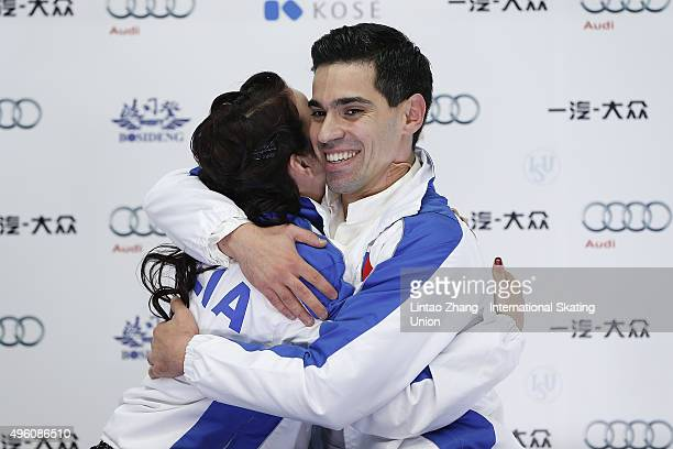 Anna Cappellini and Luca Lanotte of Italy reacts after perform the Ice Dancing short Dance on day two of Audi Cup of China ISU Grand Prix of Figure...