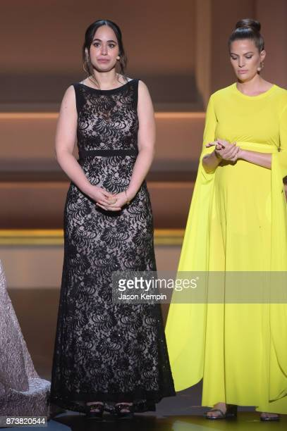 Anna Cardenas and Cameron Russell speak onstage at Glamour's 2017 Women of The Year Awards at Kings Theatre on November 13 2017 in Brooklyn New York