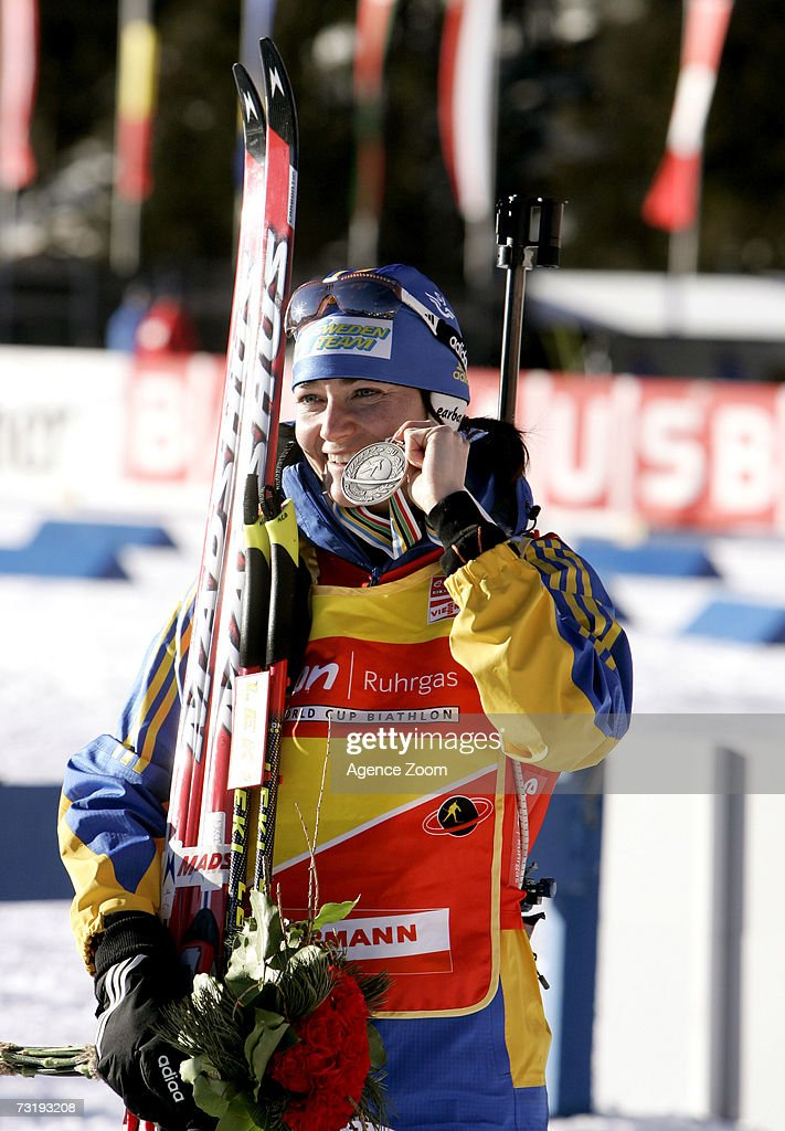 Anna Carin Olofsson of Sweden celebrates placing second after the IBU Biathlon World Championships Biathlon Ladies Sprint 7.5km event on February 3, 2007 in Antholz, Italy.