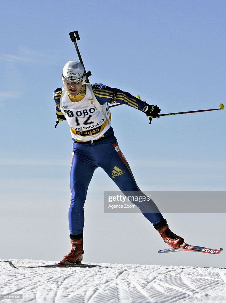 Anna Carin Olofsson of Sweden in action during the IBU Biathlon World Cup Women's 7,5km Sprint on March 23, 2006 in Holmenkollen, Norway.