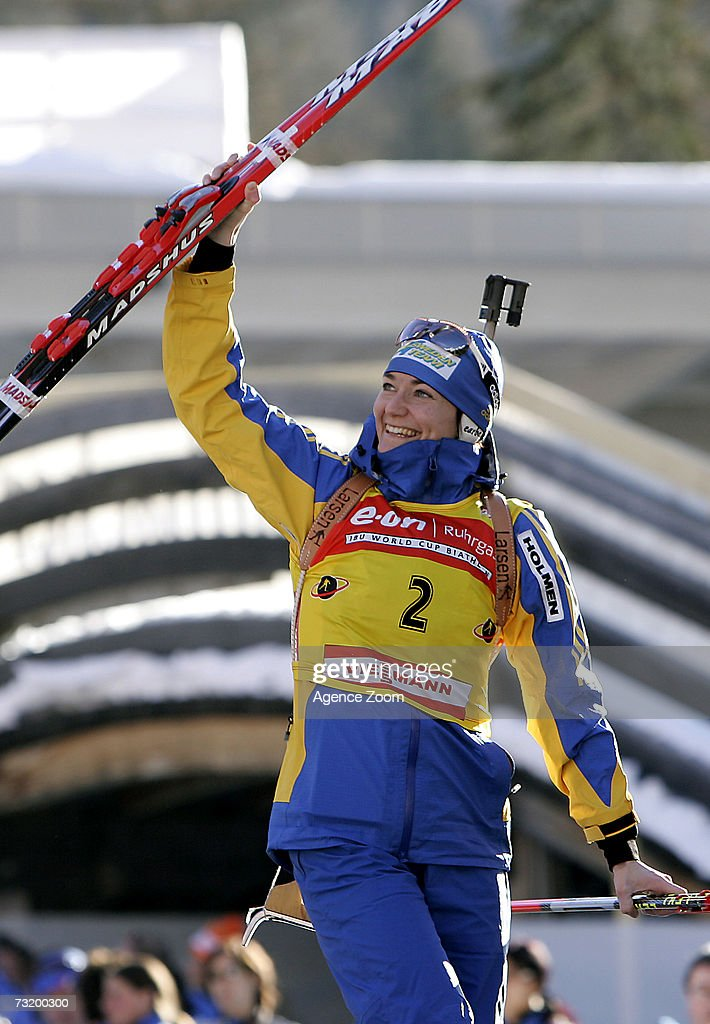 Anna Carin Olofsson of Sweden poses after placing third in the IBU Biathlon World Championships Biathlon Ladies 10Km Pursuit event on February 4, 2007 in Antholz, Italy.