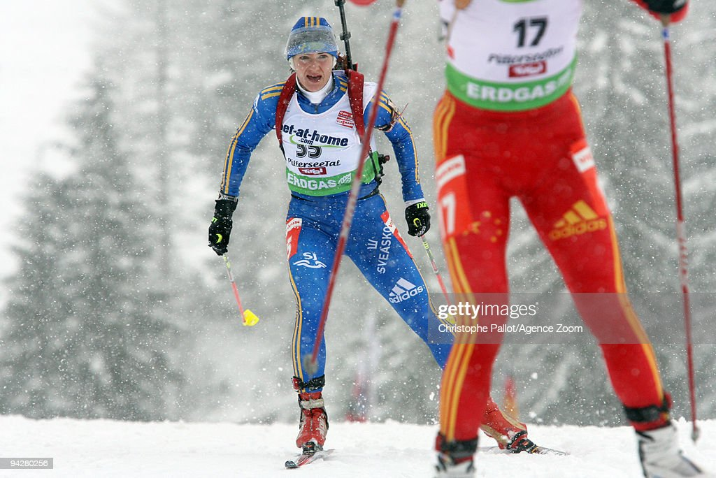Anna Carin Olofsson-Zidek of Sweden takes 1st place during the e.on Ruhrgas IBU Biathlon World Cup Women's 7.5 km Sprint on December 11, 2009 in Hochfilzen, Austria.