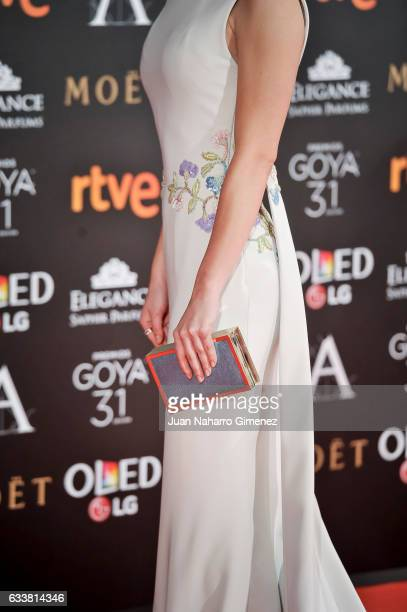 Anna Castillo fashion detail attends the 31st edition of the 'Goya Cinema Awards' ceremony at Madrid Marriott Auditorium on February 4 2017 in Madrid...