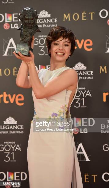 Anna Castillo holds the award for best new actress award for the film 'El Olivo' during the 31st edition of the Goya Cinema Awards at Madrid Marriott...
