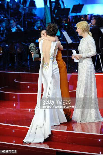 Anna Castillo Macarena Garcia and Cayetana Guillen Cuervo attend the 31st edition of the 'Goya Cinema Awards' ceremony at Madrid Marriott Auditorium...