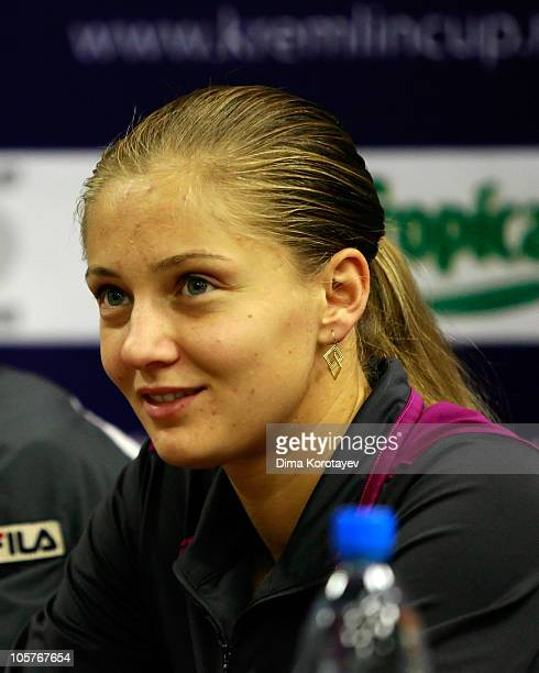 Anna Chakvetadze of Russia attends a press conference during the XXI International Tennis Tournament Kremlin Cup 2010 at the Olympic Stadium on...