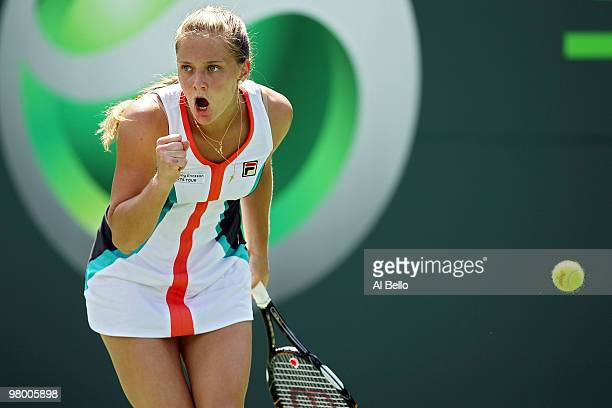 Anna Chakvetadze of Russia reacts after a point against Kimiko Date Krumm of Japan during day two of the 2010 Sony Ericsson Open at Crandon Park...