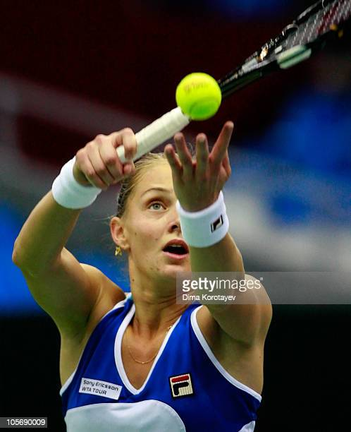 Anna Chakvetadze of Russia serves against Na Li of China during the XXI International Tennis Tournament Kremlin Cup 2010 at the Olympic Stadium on...