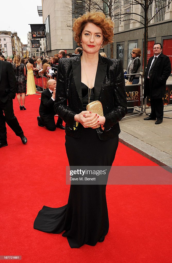 Anna Chancellor arrives at The Laurence Olivier Awards 2013 at The Royal Opera House on April 28, 2013 in London, England.