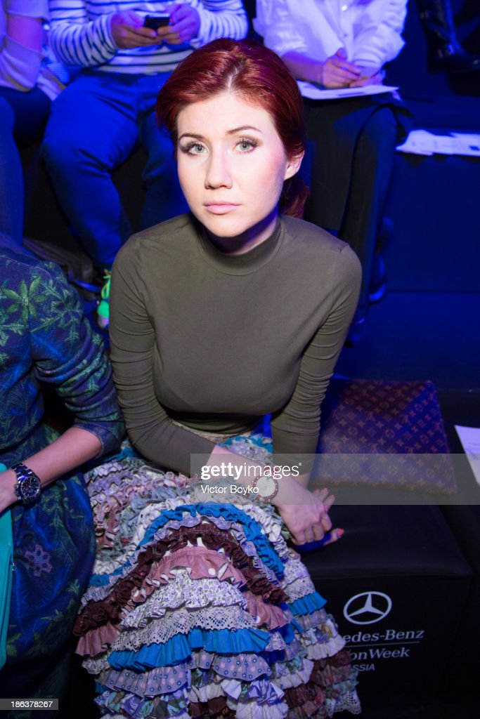 Anna Chapman attends the Alena Akhmadullina show on day 6 of Mercedes-Benz Fashion Week S/S 14 on October 30, 2013 in Moscow, Russia.