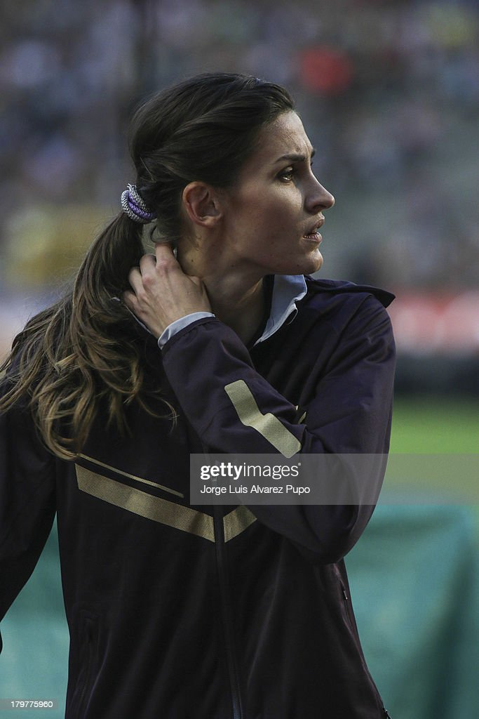 <a gi-track='captionPersonalityLinkClicked' href=/galleries/search?phrase=Anna+Chicherova&family=editorial&specificpeople=2265136 ng-click='$event.stopPropagation()'>Anna Chicherova</a> of Russia stands up during the High Jump Womens at the 2013 Belgacom Memorial Van Damme IAAF Diamond League meet at The King Baudouin Stadium on September 6, 2013 in Brussels, Belgium.
