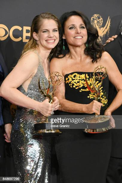 Anna Chlumsky and Julia LouisDreyfus pose in the press room during the 69th Annual Primetime Emmy Awards at Microsoft Theater on September 17 2017 in...