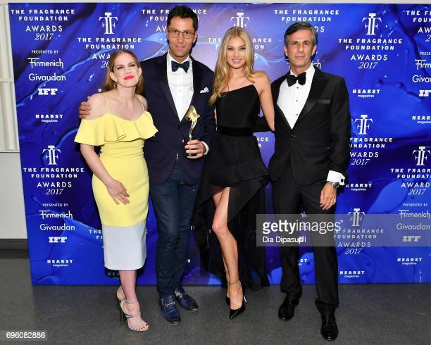 Anna Chlumsky Greg uris Elsa Hosk and Dionisio Ferenc pose backstage at the 2017 Fragrance Foundation Awards Presented By Hearst Magazines at Alice...