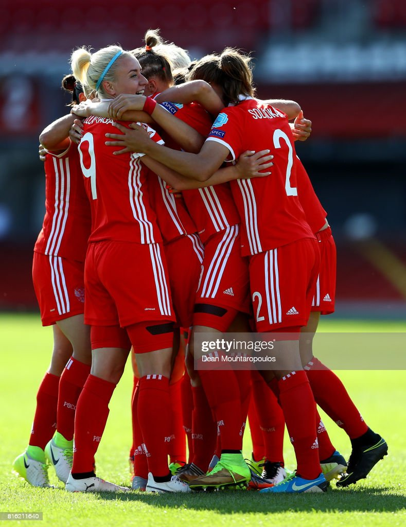 Anna Cholovyaga #9 of Russia celebrate with her team mates the 2nd goal during the Group B match between Italy and Russia during the UEFA Women's Euro 2017 at Sparta Stadion on July 17, 2017 in Rotterdam, Netherlands.