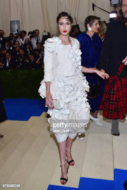 Anna Cleveland arrives at 'Rei Kawakubo/Comme des Garcons Art Of The InBetween' Costume Institute Gala at The Metropolitan Museum on May 1 2017 in...
