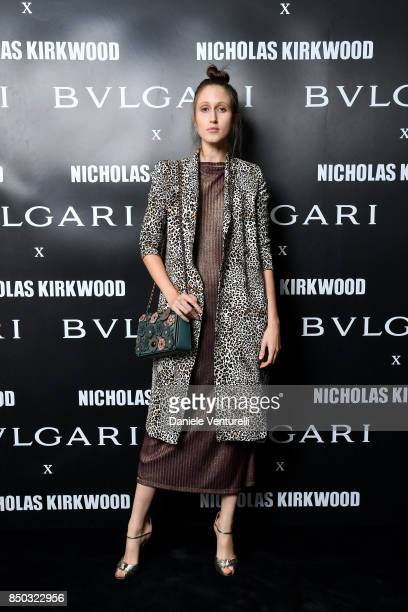 Anna Cleveland attends a party celebrating 'Serpenti Forever' By Nicholas Kirkwood for Bvlgari on September 20 2017 in Milan Italy