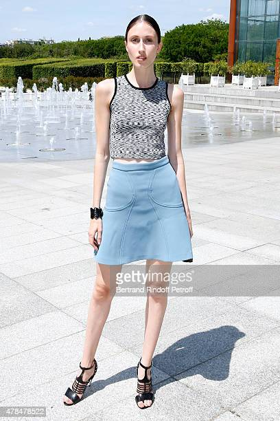Anna Cleveland attends the Louis Vuitton Menswear Spring/Summer 2016 show as part of Paris Fashion Week on June 25 2015 in Paris France