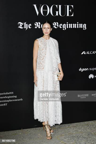 Anna Cleveland attends theVogue Italia 'The New Beginning' Party during Milan Fashion Week Spring/Summer 2018 on September 22 2017 in Milan Italy