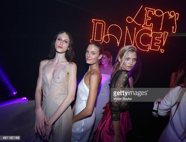 Anna Cleveland Constance Jablonski and Hana Jirickova attends Vogue 95th Anniversary Party on October 3 2015 in Paris France