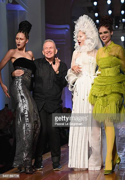 Anna Cleveland Jean Paul Gaultier Soo Joo Park and Coco Rocha are seen on the runway during the Jean Paul Gaultier Haute Couture Fall/Winter 20162017...