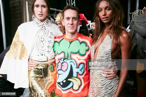Anna Cleveland Jeremy Scott and Jasmine Tookes poses backstage at Jeremy Scott Fall/Winter 2017 Show during New York Fashion Week at Gallery 1...