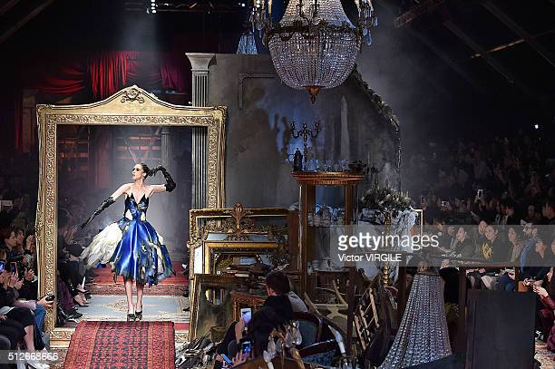 Anna Cleveland walks the runway at the Moschino fashion show during Milan Fashion Week Fall/Winter 2016/2017 on February 25 2016 in Milan Italy