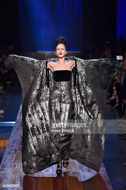Anna Cleveland walks the runway during the Jean Paul Gaultier Haute Couture Fall/Winter 20162017 show as part of Paris Fashion Week on July 6 2016 in...