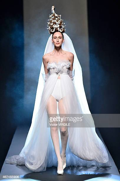 Anna Cleveland walks the runway during the Jean Paul Gaultier show as part of Paris Fashion Week Haute Couture Spring/Summer 2015 on January 28 2015...