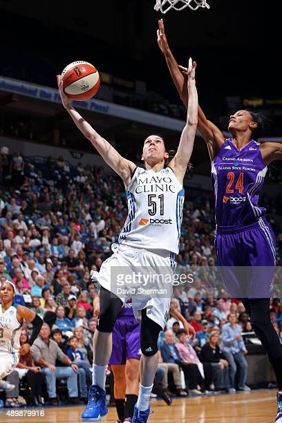 Anna Cruz of the Minnesota Lynx drives to the basket against the Phoenix Mercury during Game One of the WNBA Western Conference Finals on September...